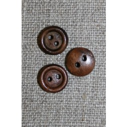 Lille brun 2-huls træ-knap, 11 mm.-20