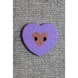 Hjerte træ-knap lilla, 18 mm.-20