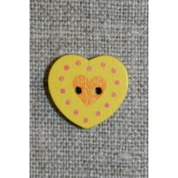 Hjerte træ-knap gul, 18 mm.-20