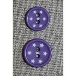 2-huls knap m/stjerner, lilla 12 mm.-20