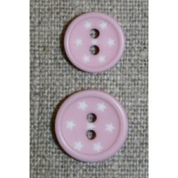 2-huls knap m/stjerner, lys rosa-20