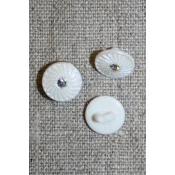 Lille hvid knap m/mønster/simili-sten, 11 mm.-20