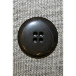 4-huls knap meleret grå-brun/sort, 22 mm.-20