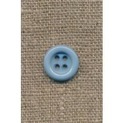 4-huls knap lys støvet blå, 14 mm.-20