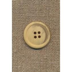 4-huls knap meleret creme/lysegul, 23 mm.-20