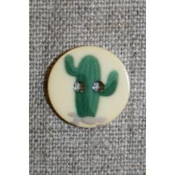 2-huls knap creme m/kaktus mørkegrøn, 18 mm.-20