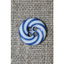 4-huls knap m/bolche-striber blå/hvid, 12 mm.-20