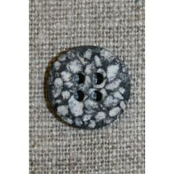 4-huls knap i sten-look sort/grå/hvid, 15 mm.-20