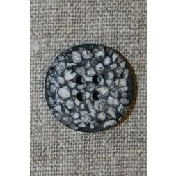 4-huls knap i sten-look sort/grå/hvid, 22 mm.-20