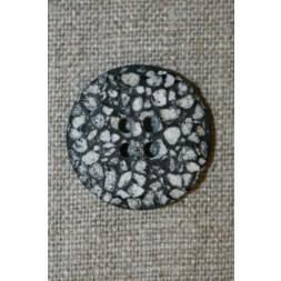 4-huls knap i sten-look sort/grå/hvid, 25 mm.-20
