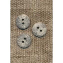 2-huls knap lysegrå i sten-look, 15 mm.-20