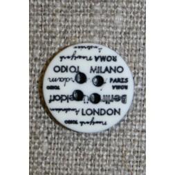 4-huls knap knækket hvid med tekst, 15 mm.-20