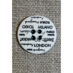 4-huls knap knækket hvid med tekst, 18 mm.-20