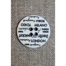 4-huls knap knækket hvid med tekst, 23 mm.-20