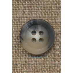 4-huls knap meleret hvid grå 15 mm.-20