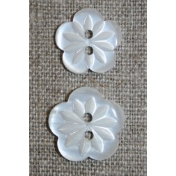 Blomster knap hvid i 2 str.-20