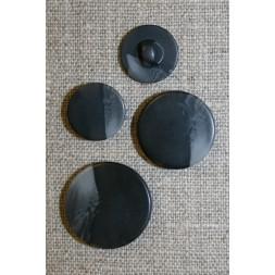 Rund knap meleret i grå og sort i 3 str.-20