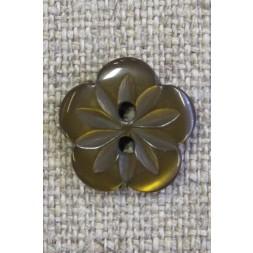 Blomster knap i brun, 15 mm.-20