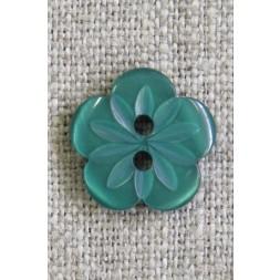 Blomster knap i grøn, 15 mm.-20
