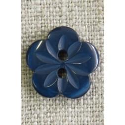 Blomster knap i mørk blå/petrol, 15 mm.-20