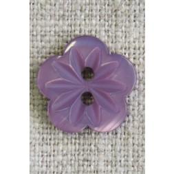 Blomster knap i lilla/lyng, 15 mm.-20