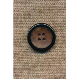4-huls knap brun meleret med sort kant, 20 mm.-20