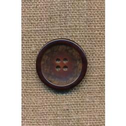 4-huls knap brun meleret med brun kant, 23 mm.-20