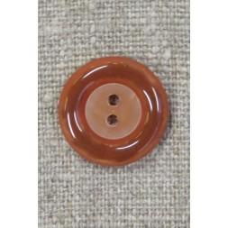 2-huls knap i brændt orange med blank kant, 20 mm.-20