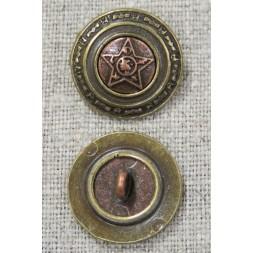 Rund metal-knap med stjerne i gl. guld og kobber, 20 mm-20