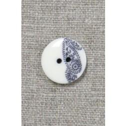 2-huls knap med sjals-/ Paisley mønster i off-white og blå 15 mm.-20