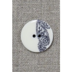 2-huls knap med sjals-/ Paisley mønster i off-white og blå 23 mm.-20
