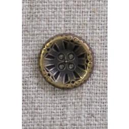4-huls knap i gl. guld med mønster, 15 mm.-20