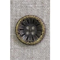 4-huls knap i gl. guld med mønster, 20 mm.-20