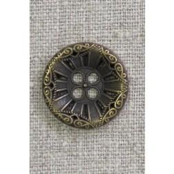 4-huls knap i gl. guld med mønster, 23 mm.-20