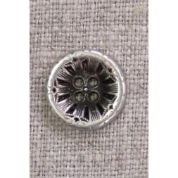 4-huls knap i gl. sølv med mønster, 15 mm.-20