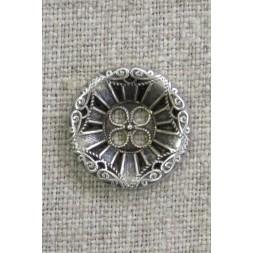 4-huls knap i gl. sølv med mønster, 20 mm.-20