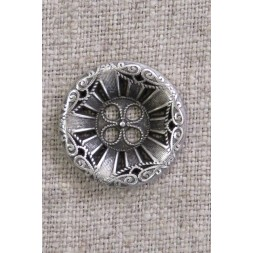 4-huls knap i gl. sølv med mønster, 23 mm.-20