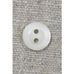 Lille knækket hvid 2-huls knap, 11 mm.-20
