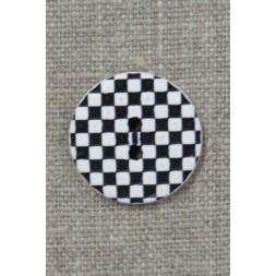 2-huls knap i sort og hvid i skak-tern 23 mm.-20