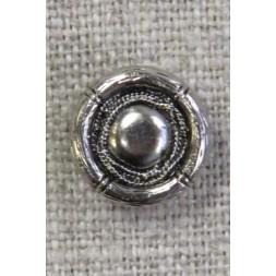 Rund gl.sølv knap i skjold-look 13 mm.-20