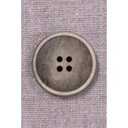 4-huls knap i beige/brun meleret 28 mm.-20