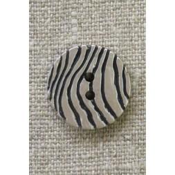 2-huls knap i sølv-look med zebra-striber 21 mm.-20