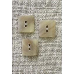 Firkantet 2-huls knap i beige/sand meleret 14 mm.-20