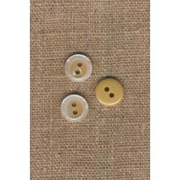 2-huls knap blank i offwhite-beige, 11 mm.-20