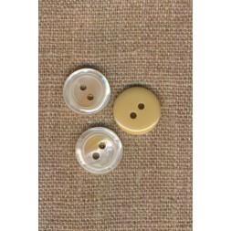 2-huls knap blank i offwhite-beige, 15 mm.-20