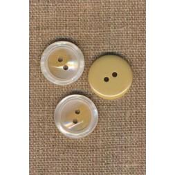2-huls knap blank i offwhite-beige, 20 mm.-20