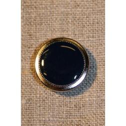 Blå knap m/sølv kant 20 mm-20