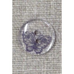 Klar 2-huls knap m/sommerfugl i lilla-20