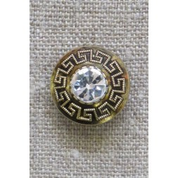 Knap i guld med Græsk mønster og simili sten, 20 mm.-20