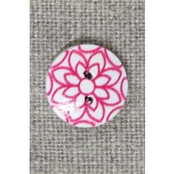 Knap træ rund hvid med pink blomst, 15 mm.-20